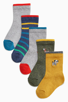 Next Embroidery Socks Five Pack (Younger Boys)