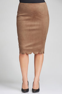 Plus Size - Sara Faux Suede Skirt - 192344