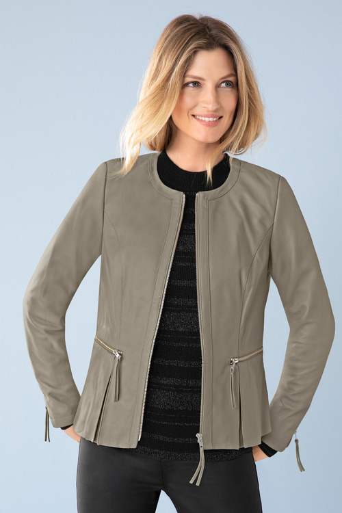 Capture Leather Collarless Jacket