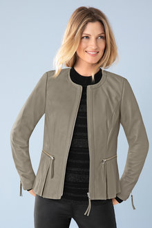 Capture Leather Collarless Jacket - 192354