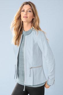 Capture Leather Collarless Jacket