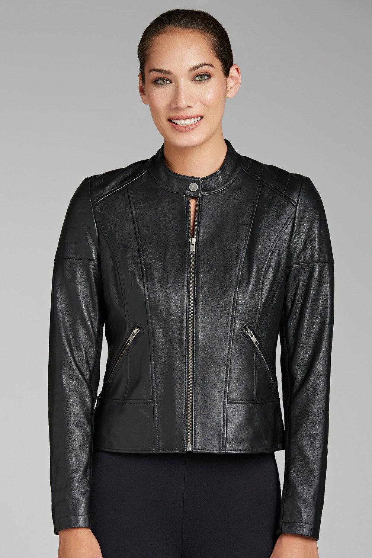 e5476721281 Emerge Leather Collarless Jacket
