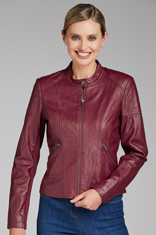 Emerge Leather Collarless Jacket