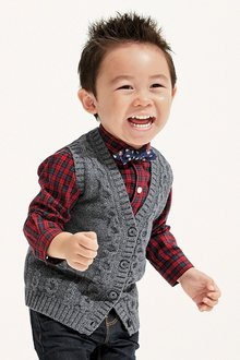 Next Cable Waistcoat, Shirt And Bow Tie Set (3mths-6yrs)