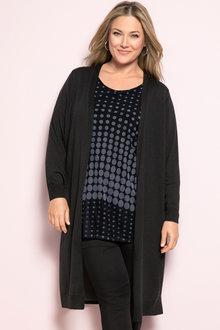 Plus Size - Sara Chiffon Back Merino Cardigan