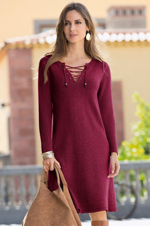 Together Lace Up Knit Dress