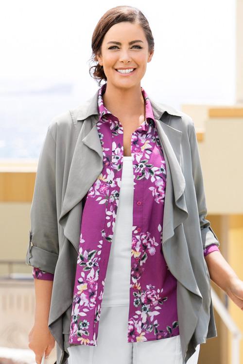 Plus Size - Sara Crush Voile Shirt