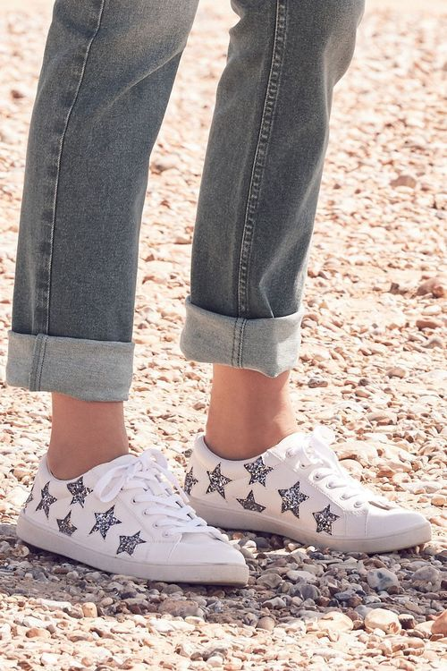 Next Glitter Star Lace-Up Trainers