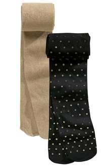 Next Black Star And Gold Metallic Tights Two Pack (3-16yrs)