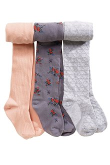 Next Floral, Pink And Grey Tights Three Pack (3-12yrs)