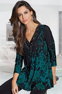 Together Embellished V Neck Tunic