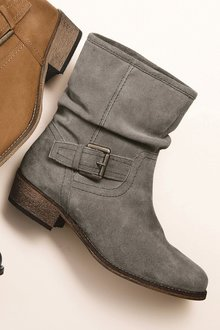 Next Suede Buckle Slouch Boots