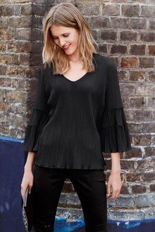 Next Sleeve Detail Pleated Top