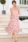 European Collection Lace Hem Asymmetric Dress