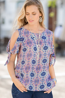 Together Tie Sleeve Printed Top