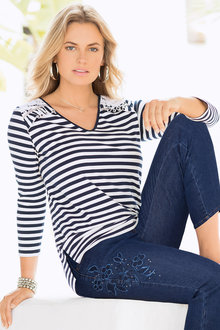 Together Lace Shoulders Stripe Top
