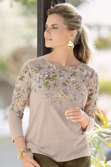 European Collection Placement Print Top