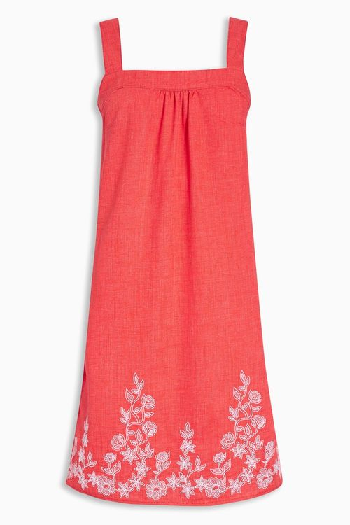 Next Linen Blend Embroidered Dress