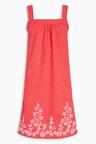 Next Linen Blend Embroidered Dress