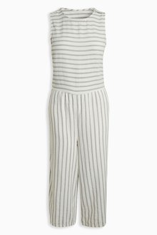 Next Stripe Wide Leg Linen Blend Jumpsuit