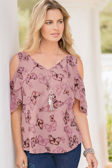 Together Printed Cold Shoulder Top - 193657
