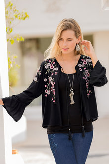 European Collection Embroidered Tassel Tie Jacket