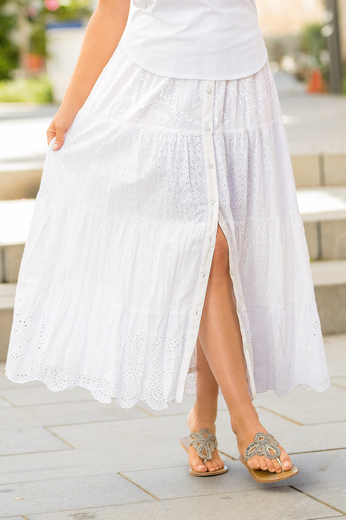 Together Tiered Button Through Skirt