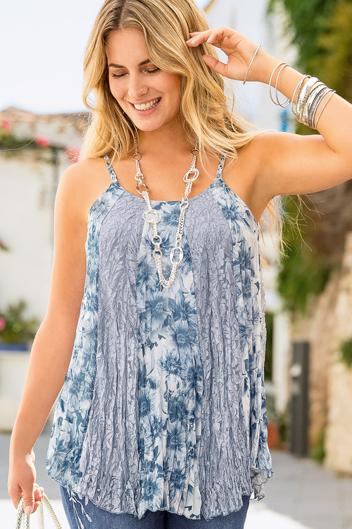 Together Print and Lace Panel Top