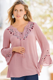Together Embroidered Tie Neckline Top