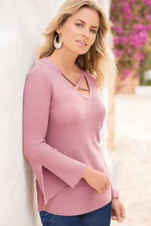 Together Cross Neckline Sweater - 193834