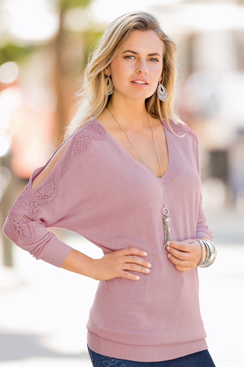 European Collection Split Sleeve Lace Knit Top