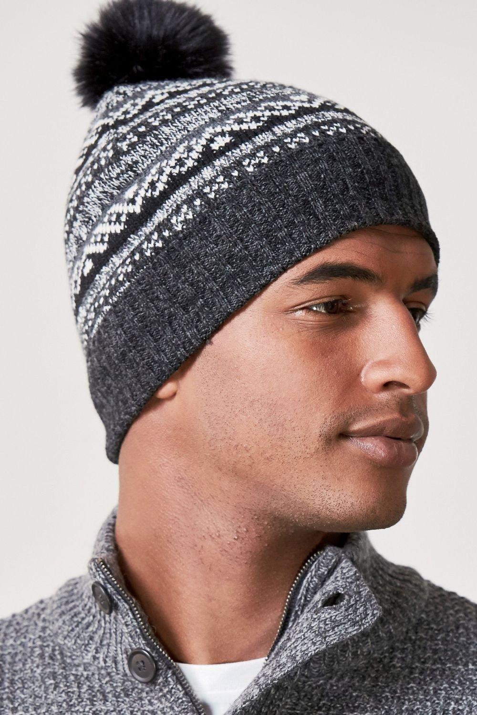 Next Patterned Faux Fur Bobble Hat Online  366328eec8c