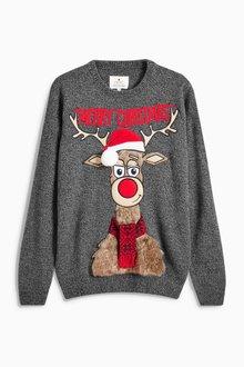 Next Fluffy Christmas Reindeer Jumper