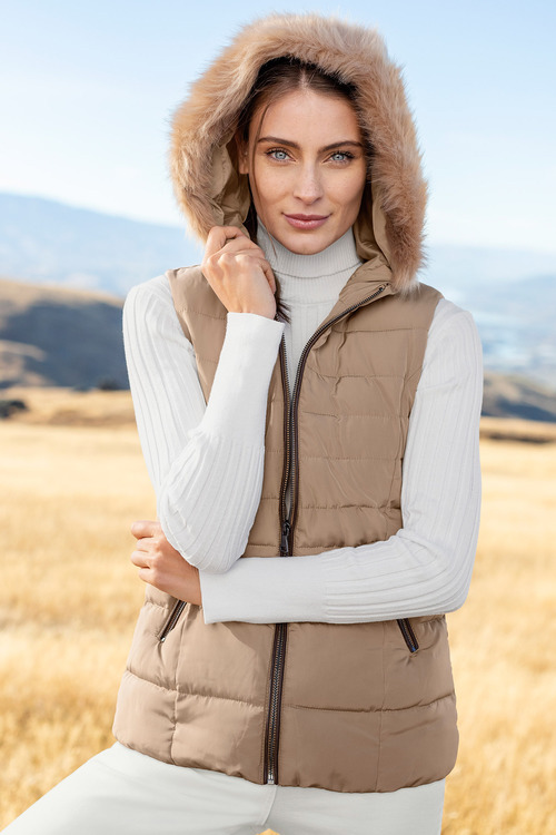 Capture Fur Hood Puffer Vest