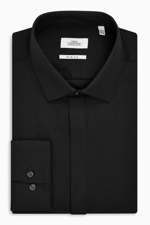 Next Textured Concealed Placket Shirt - Slim Fit Single Cuff