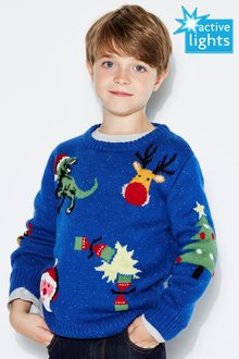 Next Christmas All Over Print Crew Neck Jumper (3-16yrs)