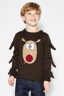 Next Christmas Reindeer Jumper (3-16yrs)