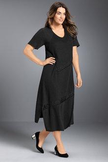 Plus Size - Sara Crepe Knit Satin Trim Dress