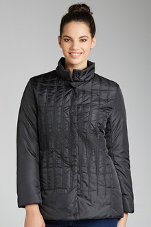 Plus Size - Sara Detail Stitch Puffer Jacket