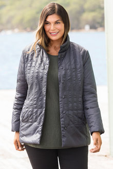 7af21f912a2 Plus Size - Sara Detail Stitch Puffer Jacket