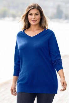 Plus Size - Supersoft Cut Out Sweater
