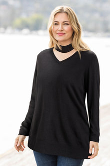 Plus Size - Supersoft Choker Sweater