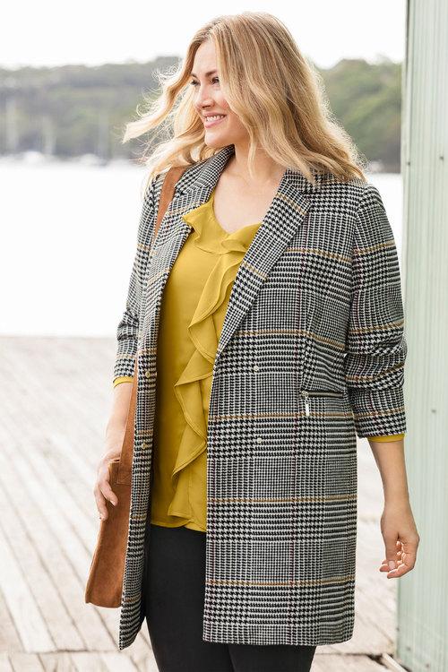 Sara Check Coat