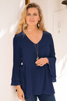European Collection Fluted Sleeve Top