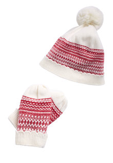 Next Patterned Hat And Mitts Set (Younger Girls)