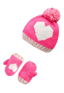 Next Pink Heart Hat & Mitts set (Younger Girls)