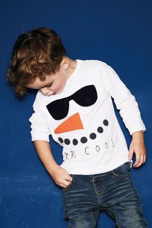 Next Long Sleeve Mr Cool Snowman T-Shirt (3mths-6yrs)