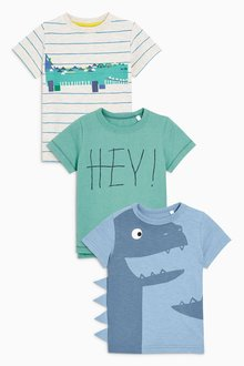 Next Short Sleeve Monsters T-Shirts Three Pack (3mths-6yrs)