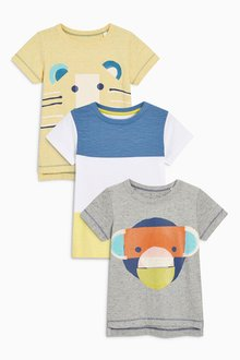 Next Short Sleeve Animals T-Shirts Three Pack (3mths-6yrs)