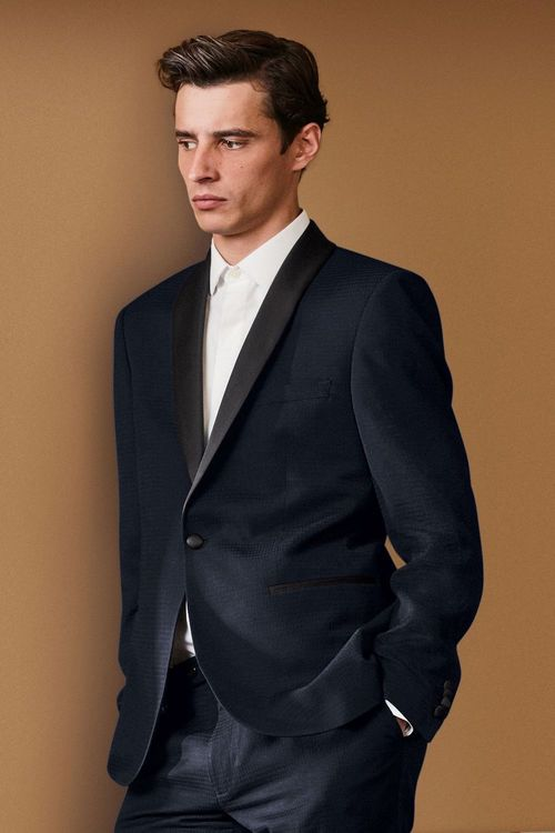 Next Textured Slim Fit Suit: Jacket